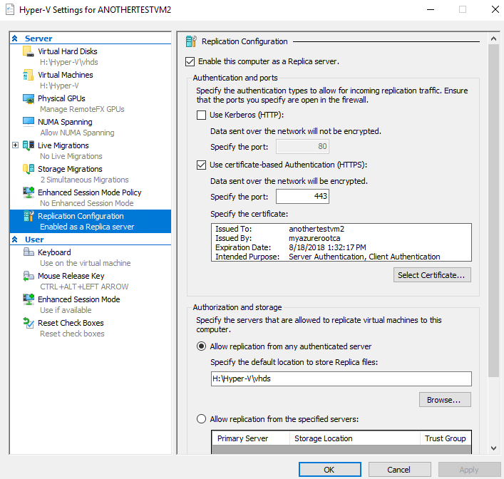 Hyper-V Replica on Azure